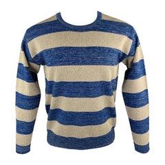 DEREK LAM Size S Blue & Gold Striped Sparkle Knit Pullover Sweater