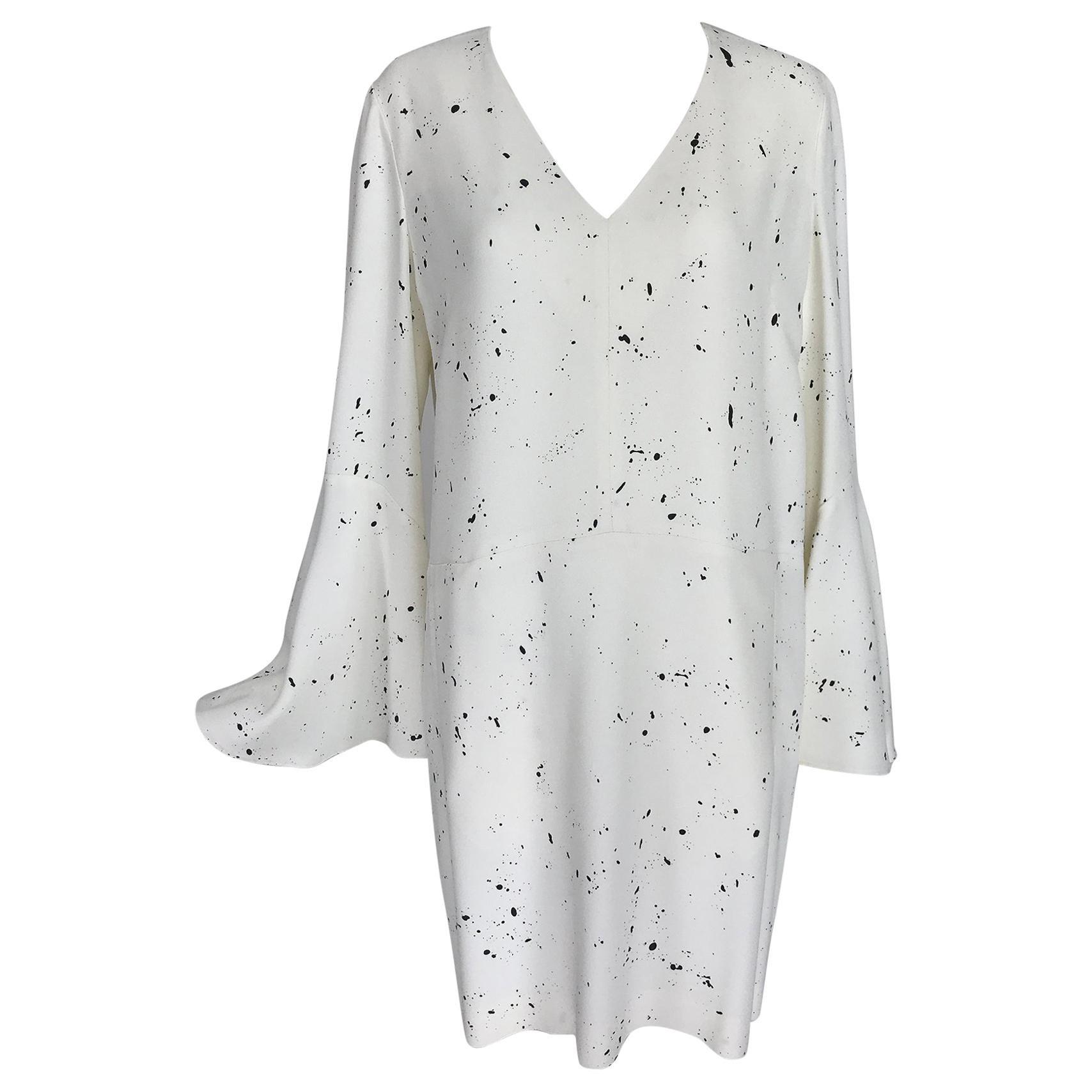 Derek Lam White & Black Crepe V Neck Bell Sleeve Dress 8