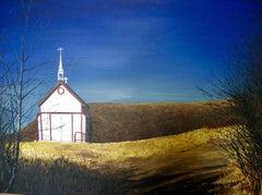 Church On The Hill, Painting, Acrylic on Canvas