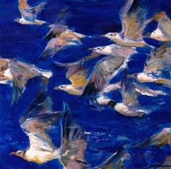 """Flocking Gulls"" Oil Painting"