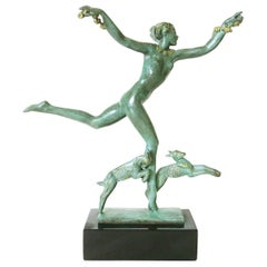 Derenne Style Art Deco Nude Dancing Nymph Bronze Statue with Black Marble