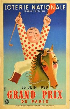 Original Vintage Poster Loterie Nationale Lottery Grand Prix Horse Race Jockey