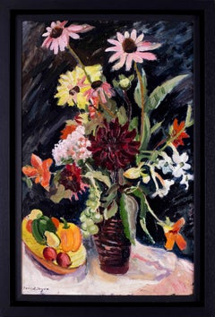 British 20th Century oil painting of a vase of flowers on a black background
