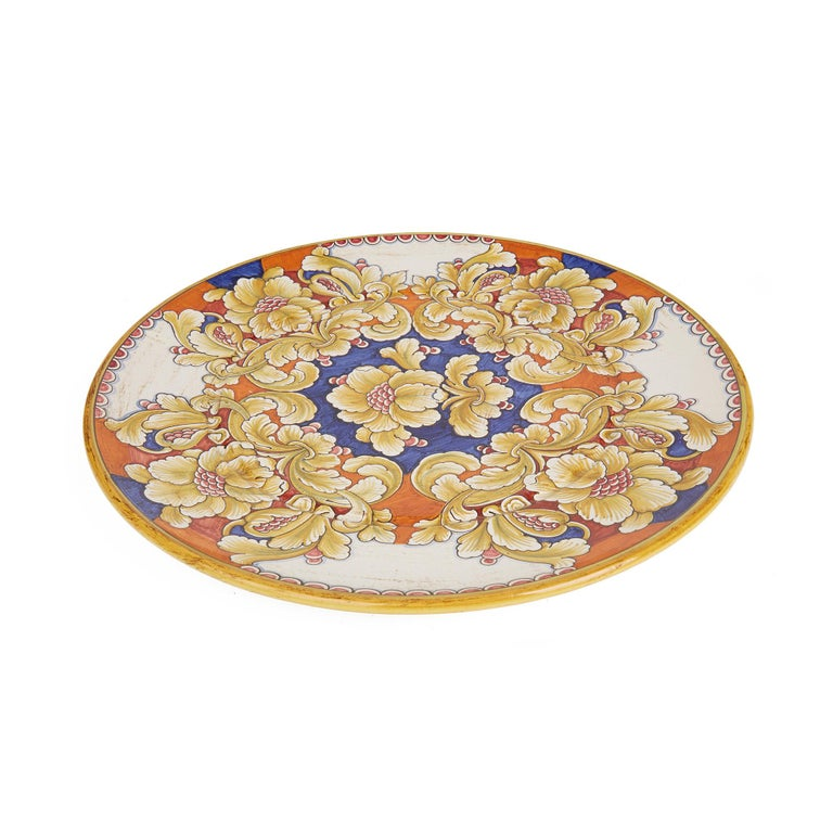 Hand-Painted Deruta Gialletti Pimpinelli Large Floral Painted Pottery Wall Charger