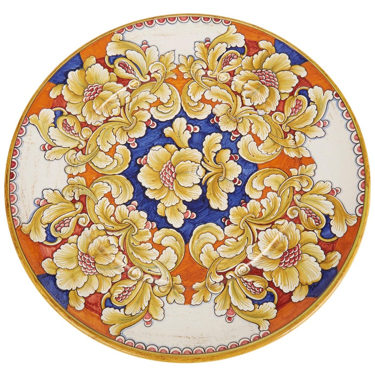 Deruta Gialletti Pimpinelli Large Floral Painted Pottery Wall Charger