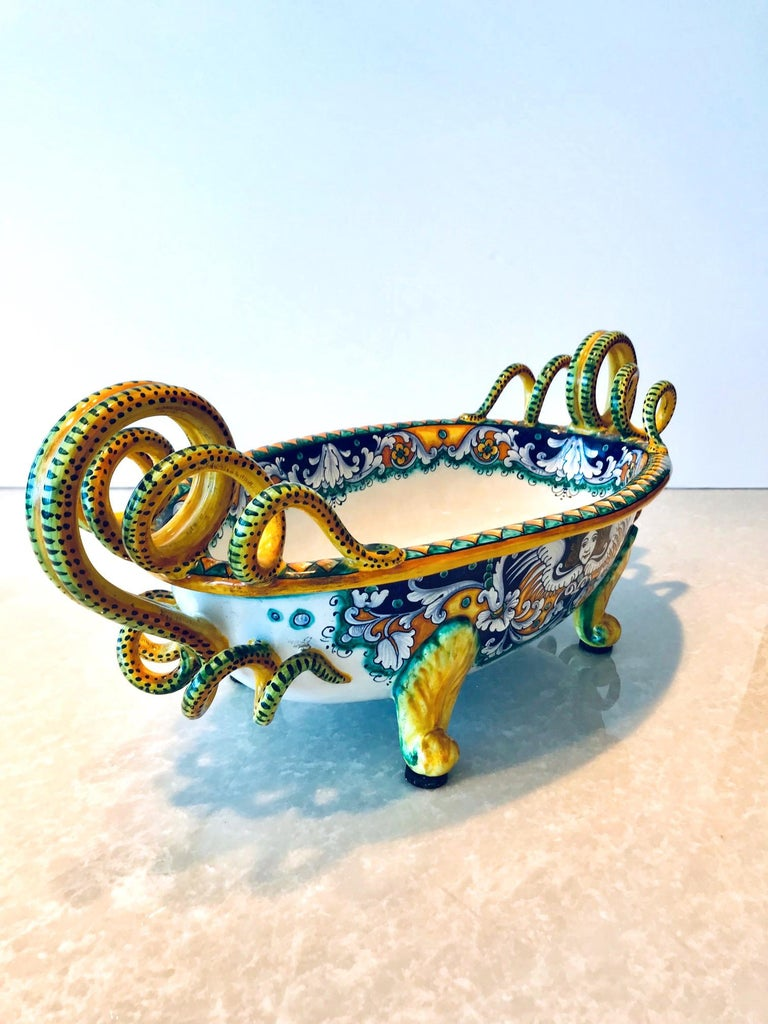 Glazed Deruta Hand Painted Majolica Centerpiece Bowl with Serpentines, 1980s For Sale