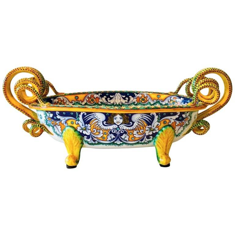 Deruta Hand Painted Majolica Centerpiece Bowl with Serpentines, 1980s For Sale