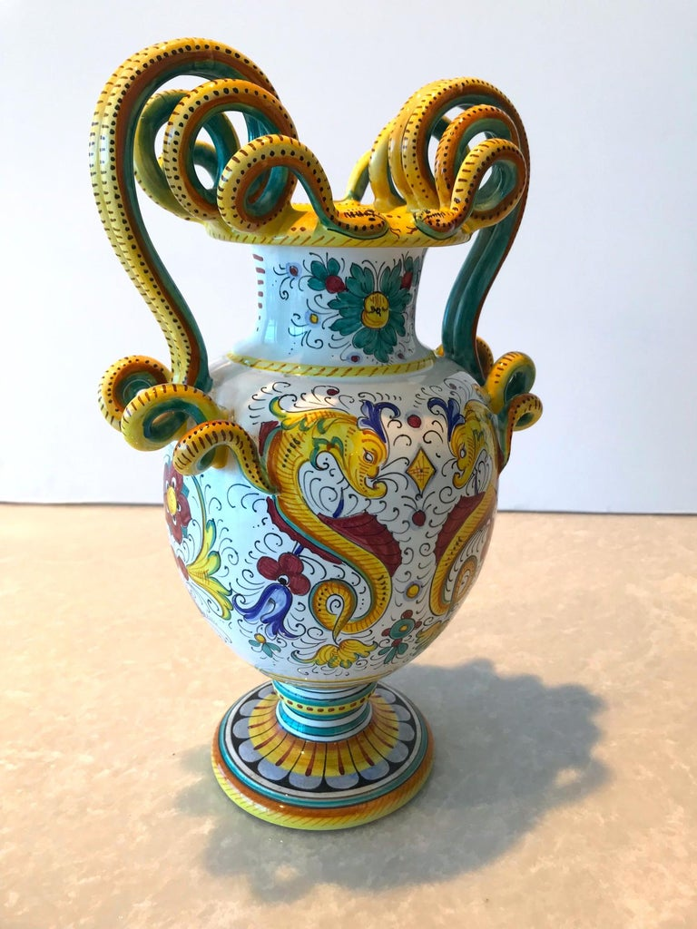 Italian Deruta Hand Painted Majolica Ceramic Vase with Serpentines, 1980s For Sale