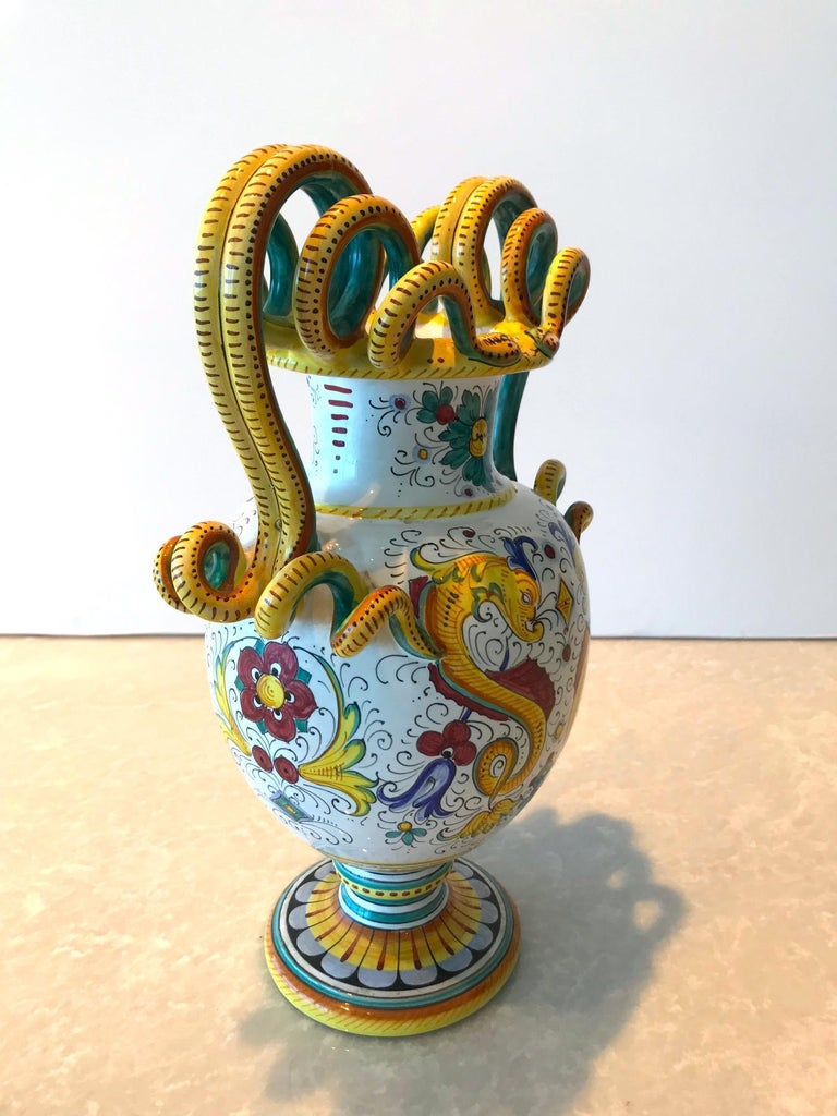 Glazed Deruta Hand Painted Majolica Ceramic Vase with Serpentines, 1980s For Sale