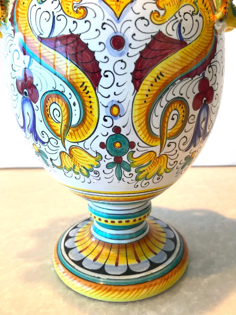 Pottery Deruta Hand Painted Majolica Ceramic Vase with Serpentines, 1980s For Sale