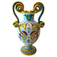 Deruta Hand Painted Majolica Ceramic Vase with Serpentines, 1980s