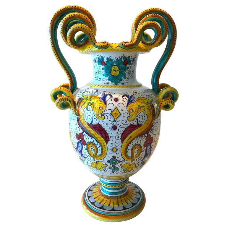 Deruta Hand Painted Majolica Ceramic Vase with Serpentines, 1980s For Sale