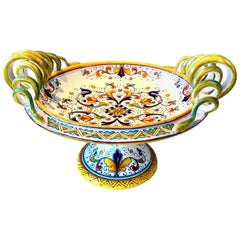 Deruta Hand Painted Majolica Pedestal Bowl with Serpentines, 1980s