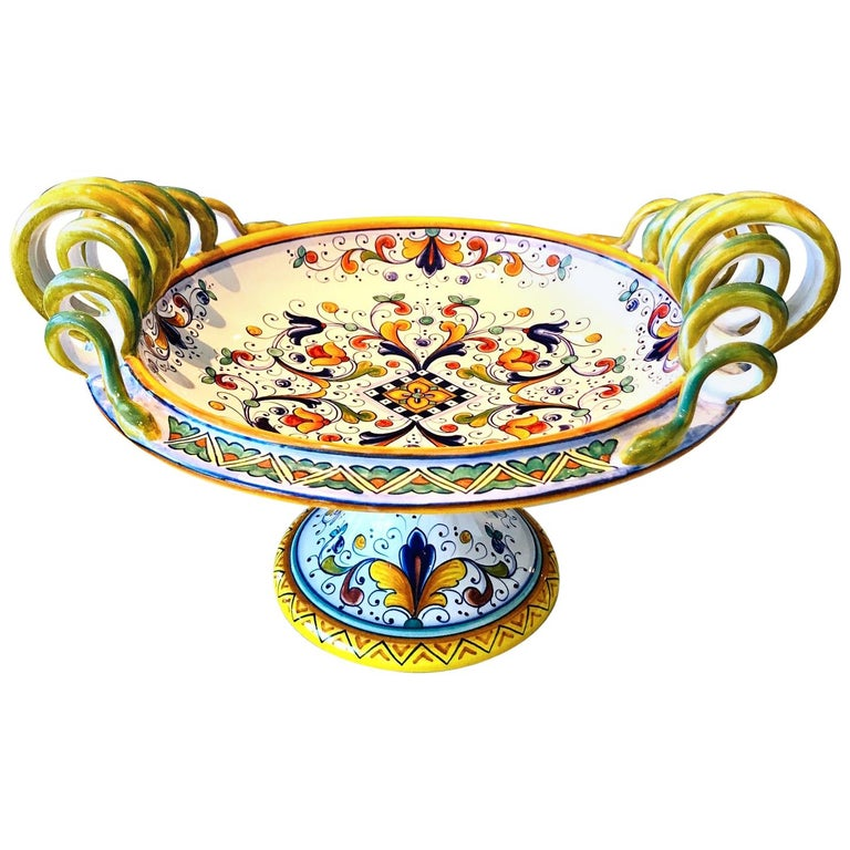 Deruta Hand Painted Majolica Pedestal Bowl with Serpentines, 1980s For Sale