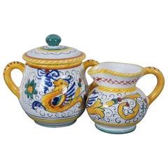Deruta Italian Majolica Sugar Bowl & Creamer Raffaellesco Dragon Coffee Tea