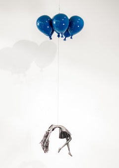 Blue is My Colour - woman, steel, colourful, blue, balloons, suspended sculpture