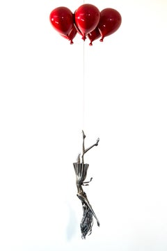 Red Line - woman, figure, steel, colorful, balloons, suspended sculpture