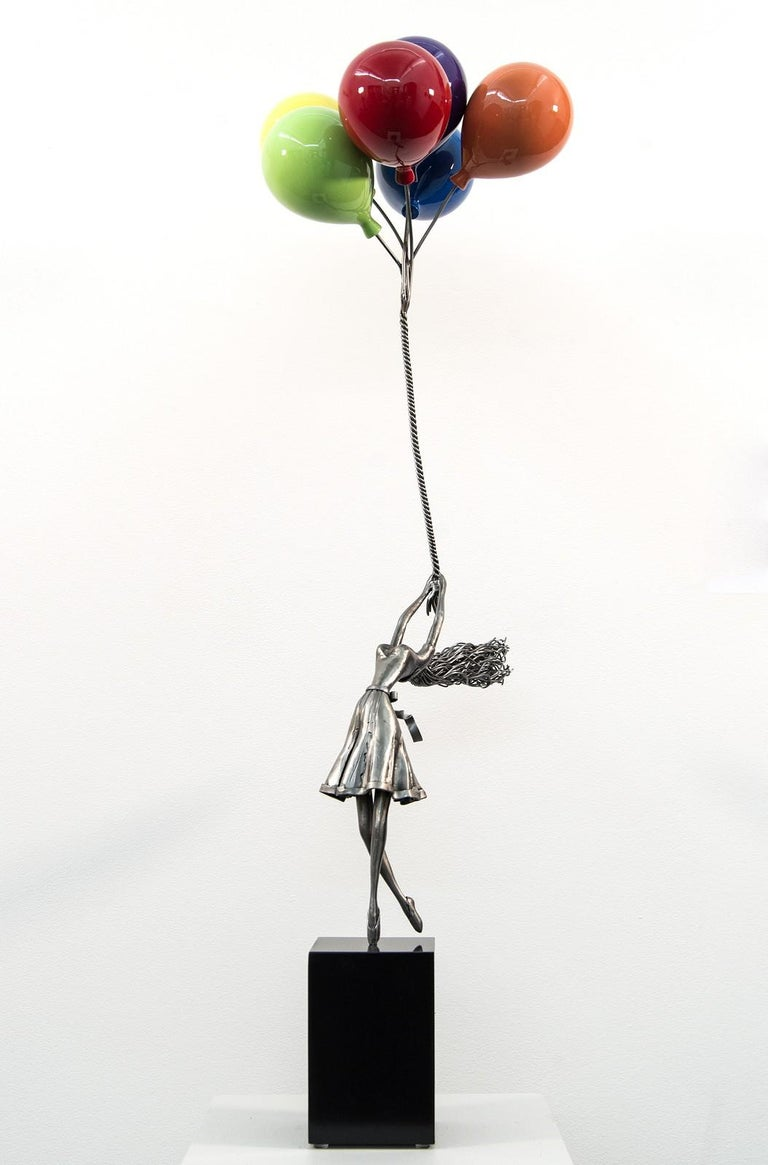 Seize The Moment - woman, figure, steel, colorful, balloons, sculpture - Sculpture by Derya Ozparlak