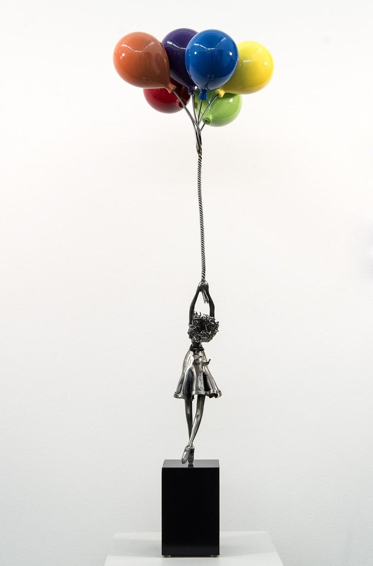 Seize The Moment - woman, figure, steel, colorful, balloons, sculpture - Contemporary Sculpture by Derya Ozparlak