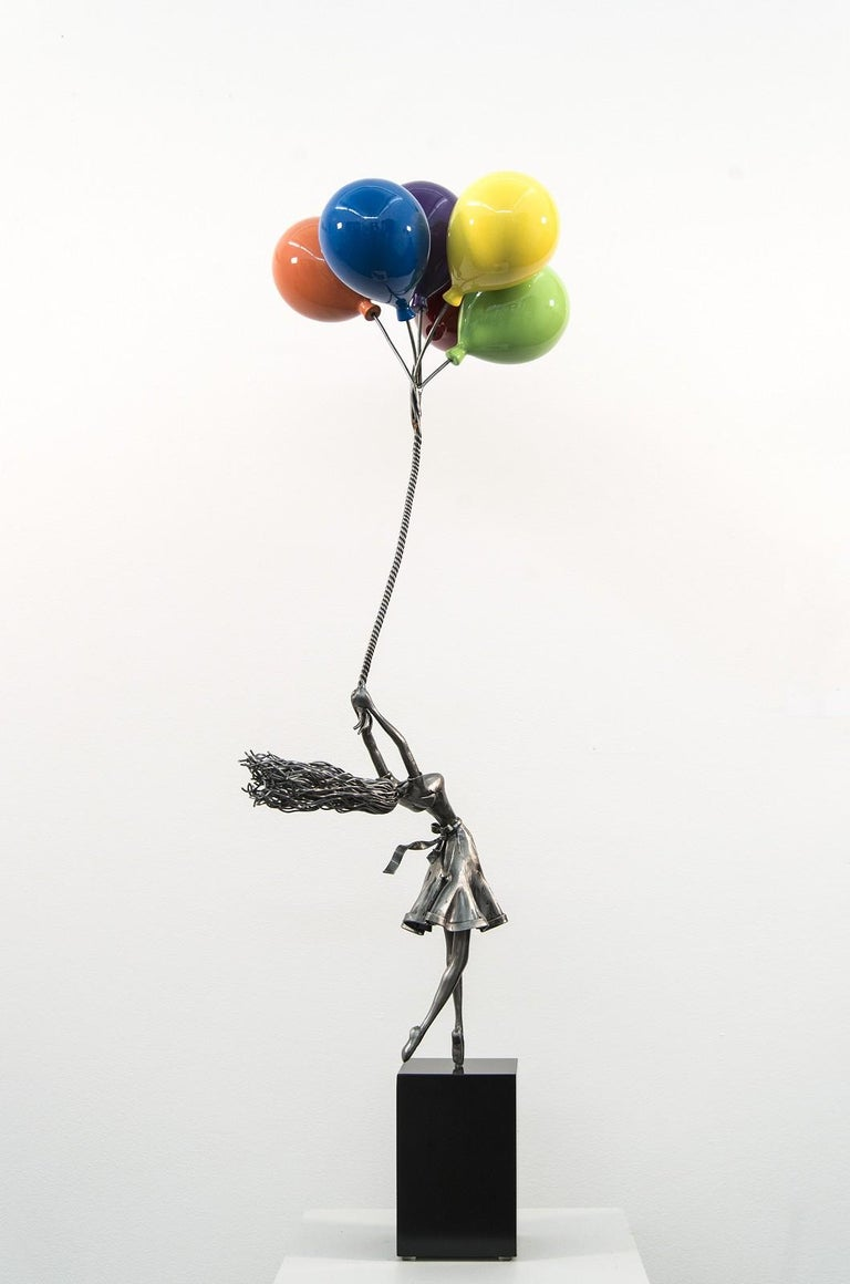 Seize The Moment - woman, figure, steel, colorful, balloons, sculpture - Gray Figurative Sculpture by Derya Ozparlak