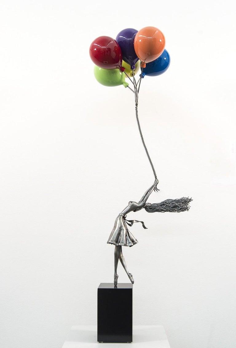 Derya Ozparlak Figurative Sculpture - Seize The Moment - woman, figure, steel, colorful, balloons, sculpture