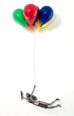 You Are All You Have Got - woman, figure, steel, colorful, balloons, sculpture