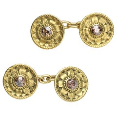 Desbazeille Art Nouveau Diamond Gold Cufflinks