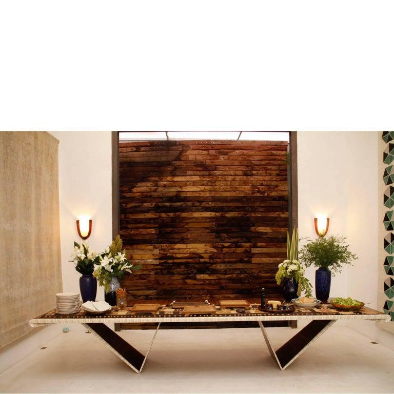 Brazilian contemporary dining table Desdobramento dining table by Jose Marton, 2015, Brazil Limited Edition of 60.  Exhibitions: Encontros, Legado Arte gallery, Sao Paulo, Brazil, August, 2015 IDA-RJ, Rio de Janeiro, Brazil, September, 2015.