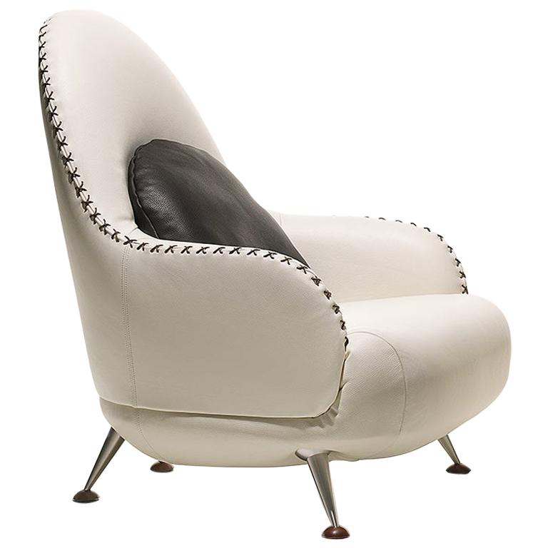 De Sede DS-102 Armchair in Snow Upholstery by Mathias Hoffmann For Sale