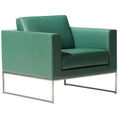 De Sede DS-160 Armchair in Turquoise Leather Upholstery by De Sede Design Team