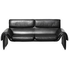 De Sede DS-2011 Two-Seat Sofa in Black Upholstery by De Sede Design Team