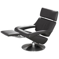 De Sede DS-255 Armchair with Headrest in Black Upholstery by De Sede Design Team