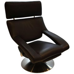 De Sede DS-255 Brown Leather Recliner with Pullout Footrest and Swivel Base