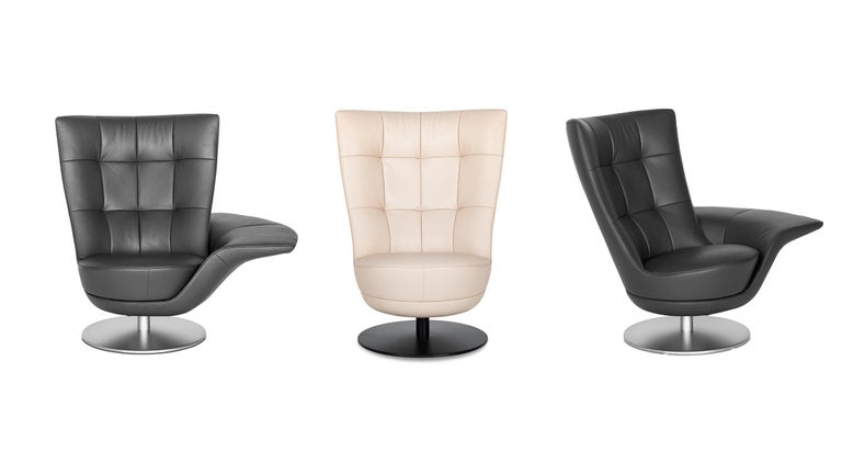 Unimagined flexibility, thanks to two armchair parts. The architecture of the armchair is based on two parts, each able to swivel about its own axis. Depending on how the two chair parts are rotated relative to one another, the lower part can be