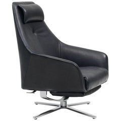 De Sede DS-277 Armchair with Footrest in Black Upholstery by Christian Werner