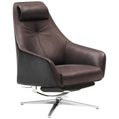 De Sede DS-277 Armchair with Footrest in Cafe Brown Fabric by Christian Werner