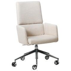 De Sede DS-414 Swivel Base Armchair in White Upholstery by De Sede Design Team