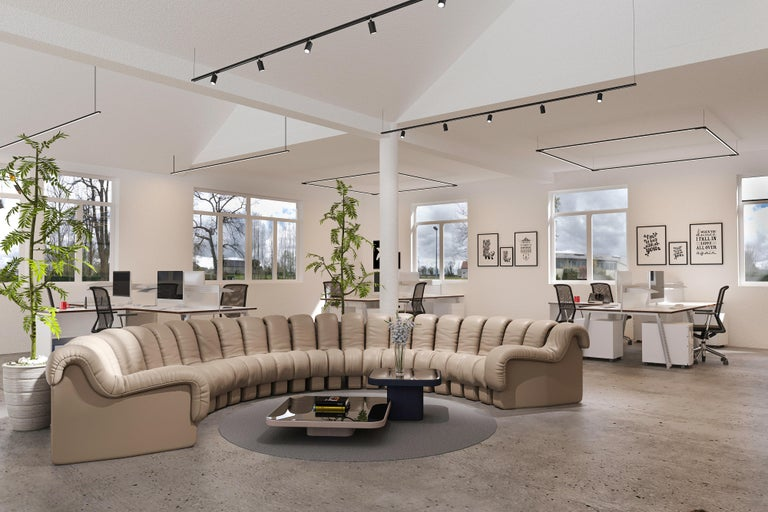 Launched in 1972, DS-600 is an indestructible, variable modular system of upholstered furniture consisting of individual, addable armchair elements. These consist of an L-shaped hard foam core covered with a down-lined and leather-covered cushion.