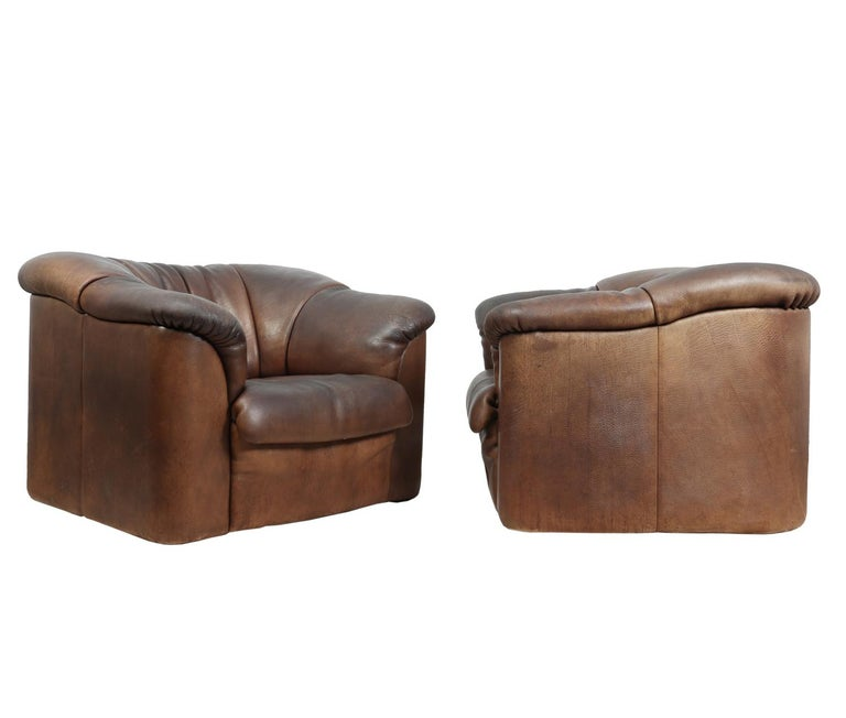 Mid-Century Modern DeSede DS45 Chairs in Brown Neck Leather For Sale