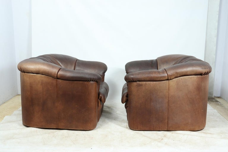 Swiss DeSede DS45 Chairs in Brown Neck Leather For Sale