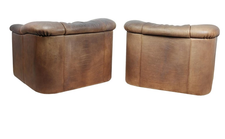 DeSede DS45 Chairs in Brown Neck Leather For Sale 1