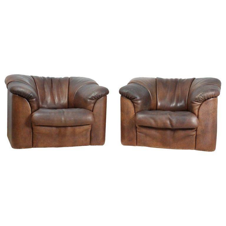 DeSede DS45 Chairs in Brown Neck Leather For Sale