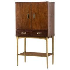 Desert Bar Cabinet with Vintage Brass Finish