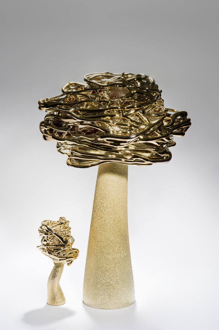 Organic Modern Desert Flower, a Unique Brass and Glass Sculpture by Remigijus Kriukas For Sale