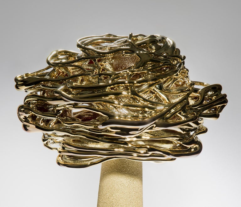 Hand-Crafted Desert Flower, a Unique Brass and Glass Sculpture by Remigijus Kriukas For Sale