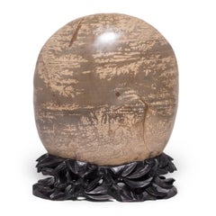 Desert Meditation Stone on Carved Stand