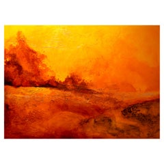 """Deserted Sun"" Expressionist Landscape Oil Painting on Canvas, Grunge Background"