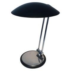 Design Adjustable Chrome and Black Lacquered Desk Lamp, circa 1970