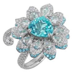 Design Award Winner GIA certified 4.21 carat Paraiba Flower Ring