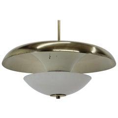 Design Bauhaus Brass UFO Pendant, 1930s / Czechoslovakia, Functionalism